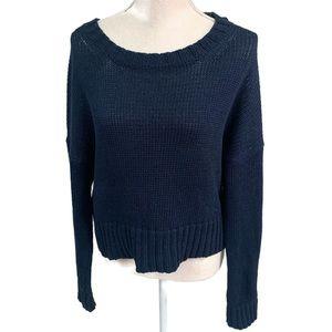 J. CREW Cotton rib-trim crewneck sweater navy M